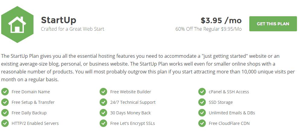 Siteground hosting - startup plan