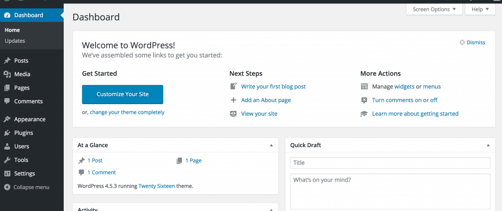 giao diện mặc định wordpress