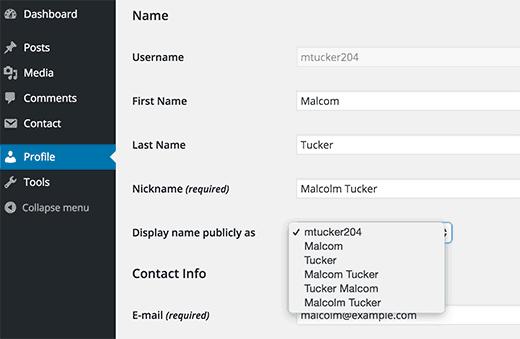 Thay đổi hoặc thêm tên trong WordPress