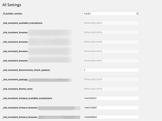 Trang lựa chọn tuyệt mật trong WordPress Admin
