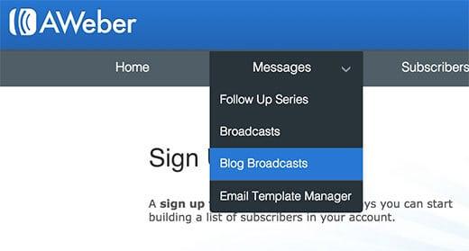 đăng ký email bằng aweber