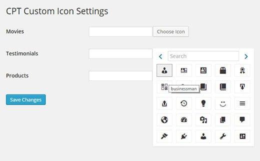 Thêm các icon cho Custom Post Type bằng việc sử dụng một Plugin