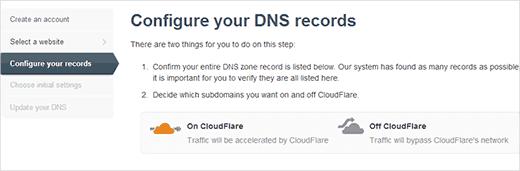 ác bản ghi DNS bỏ qua CloudFlare sẽ hiện đám mây màu nâu