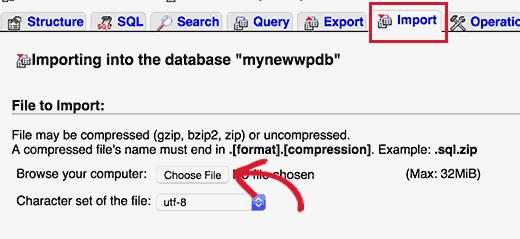 tải lên các file sao lưu cơ sở dữ liệu