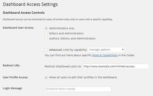 Giới hạn quyền truy cập bảng điều khiển trong WordPress