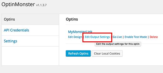 kích hoạt Monsterlink Optin trên trang của bạn