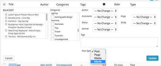 Chuyển đổi hoặc biến đổi Custom Post Type