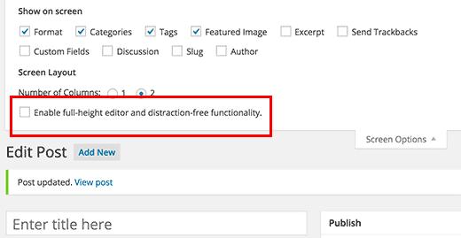 vô hiệu hóa post editor