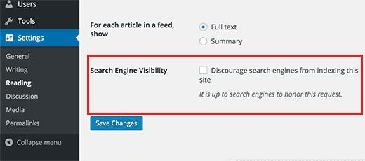 Kiểm tra Cài đặt Search Engine Visibility trong WordPress
