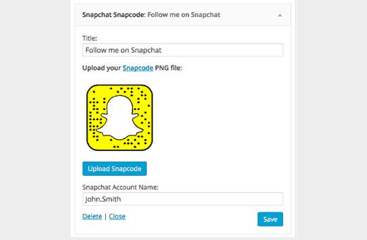 Sử dụng Snapchat snapcode widget