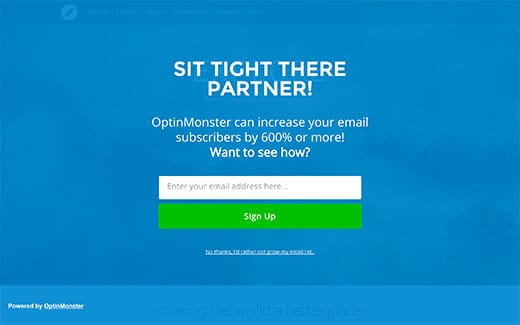 sử dụng optinmonster để tạo welcome gate