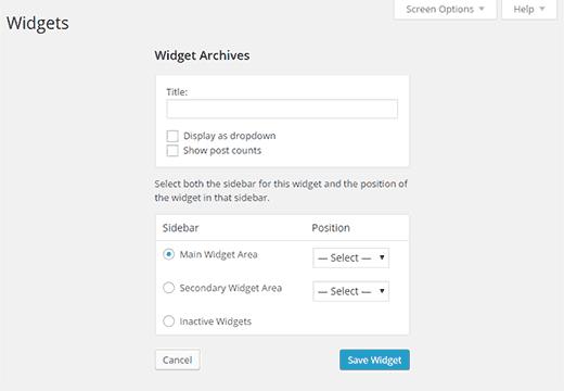 Bạn cũng có thể chọn khu vực sidebar hoặc widget nơi mà bạn muốn thêm widget của bạn