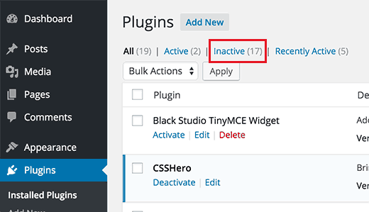Tháo dỡ những plugin không sử dụng