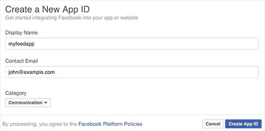 tạo mới App Id