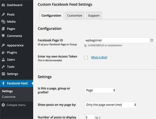 Custom Facebook Feed Setting