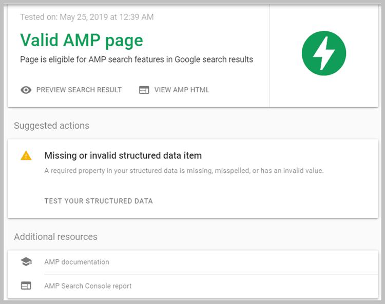 Kết quả kiểm tra AMP Test