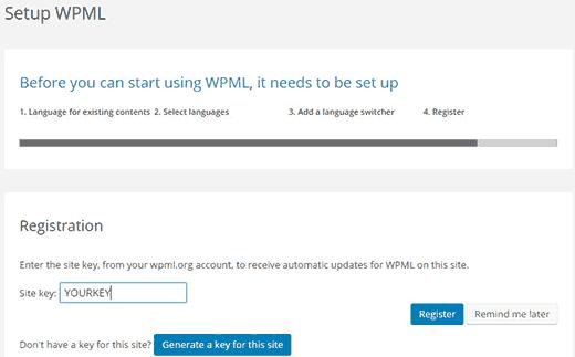 Registration WPML