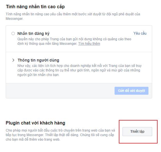 Thiết lập facebook chat plugin