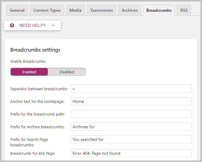 Breadscrumbs settings yoast seo