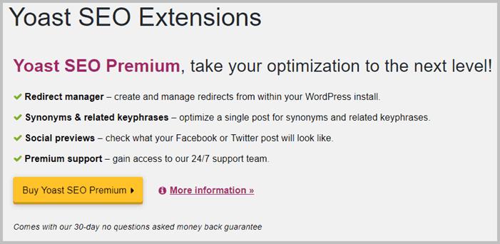 Yoast SEO Premium Extensions