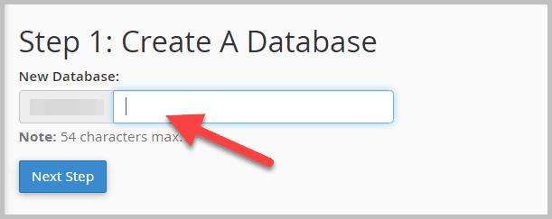 đặt tên cho database mới