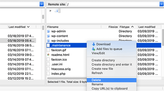 delete-maintenance-file