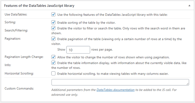 Feature-of-the-DataTables-JavaScript-library