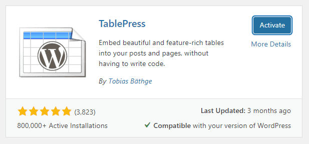 install-TablePress-plugin