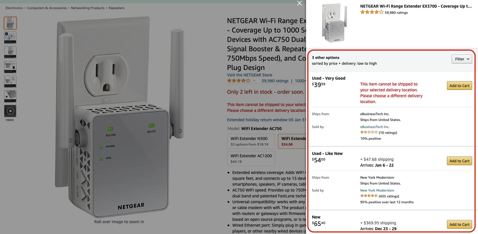 Gợi ý các sản phẩm tương tự trên Amazon. ©Amazon.