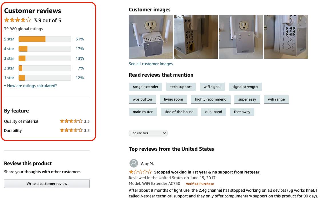 Khách hàng khá quan tâm đến những đánh giá này khi mua hàng. ©Amazon.
