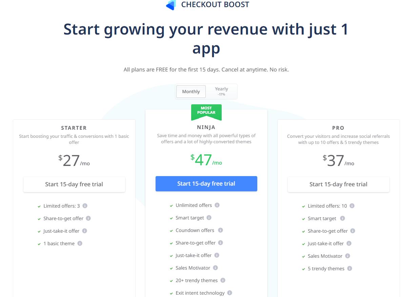 Bảng giá ứng dụng Checkout Boost