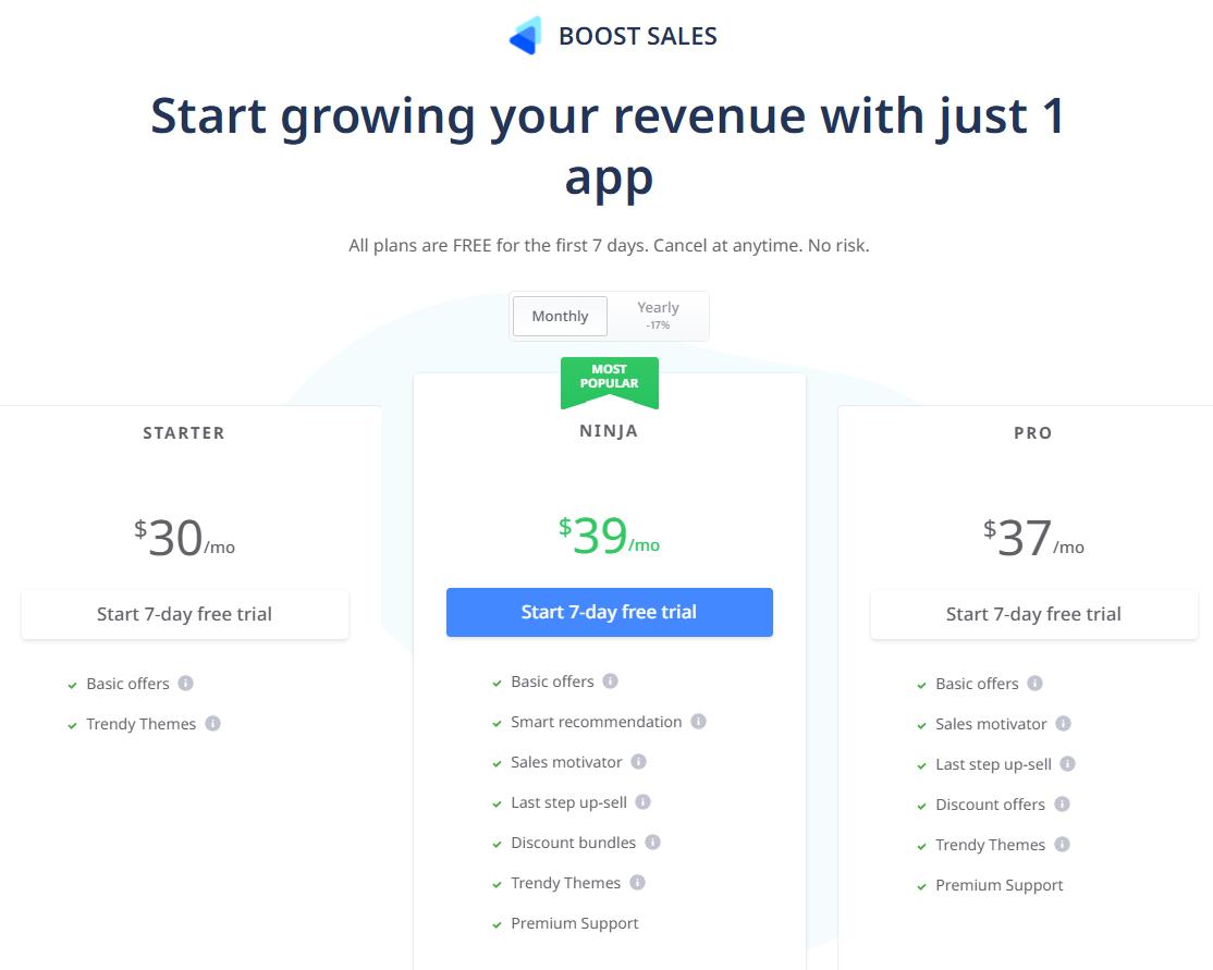 Bảng giá ứng dụng Boost Sales